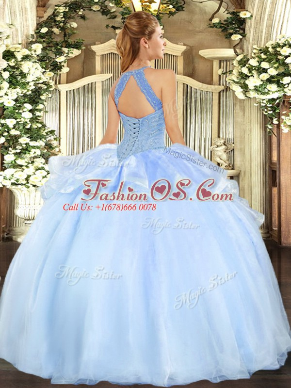 Noble Ball Gowns Quinceanera Dresses Lilac Halter Top Organza Sleeveless Floor Length Lace Up