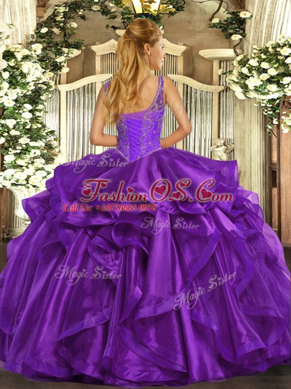 Organza Straps Sleeveless Lace Up Beading and Ruffles Ball Gown Prom Dress in Wine Red