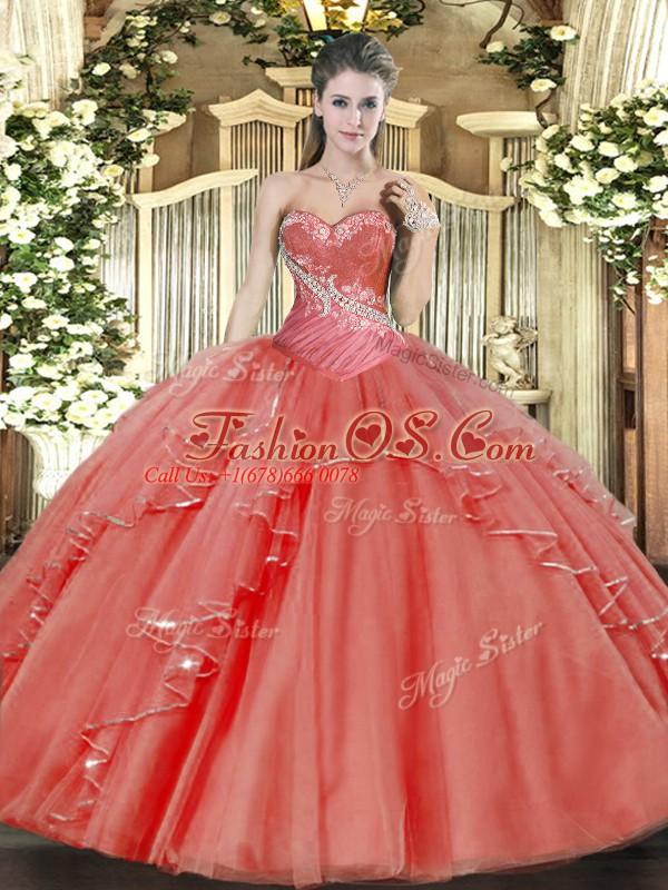Eye-catching Sweetheart Sleeveless Tulle Sweet 16 Dresses Beading and Ruffled Layers Lace Up