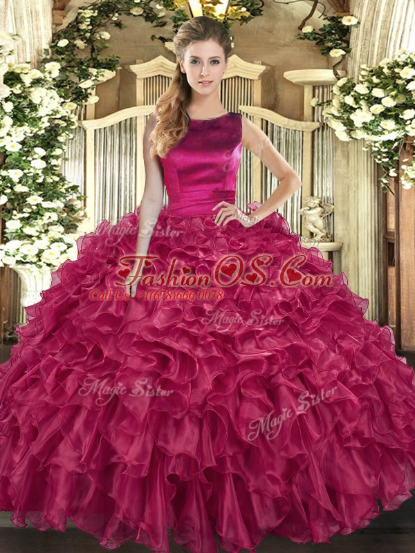 Cute Bateau Sleeveless Organza Vestidos de Quinceanera Ruffles Lace Up