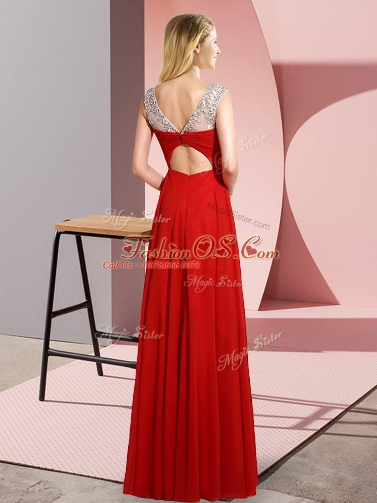 Scoop Sleeveless Chiffon Prom Dresses Beading Clasp Handle