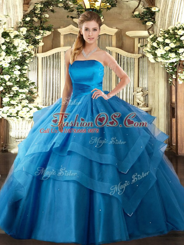 Top Selling Baby Blue Tulle Lace Up Strapless Sleeveless Floor Length Quince Ball Gowns Ruffled Layers