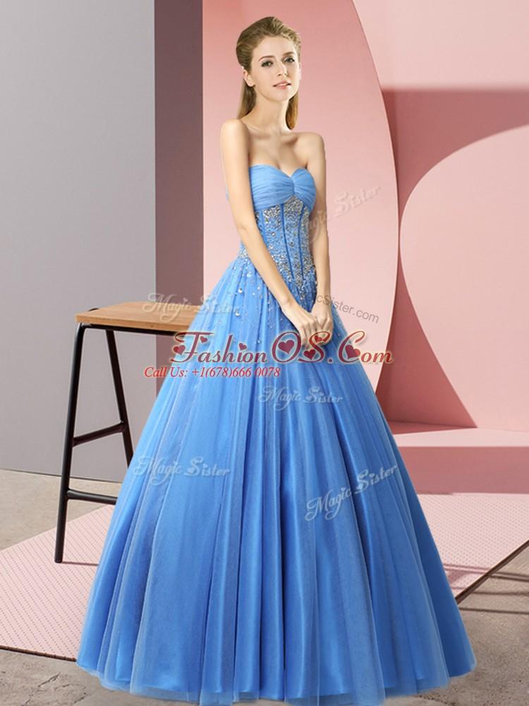 Beautiful Baby Blue Sweetheart Lace Up Beading Prom Dress Sleeveless