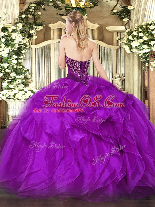 Romantic Lace Up Strapless Beading and Ruffles Sweet 16 Dresses Organza Sleeveless