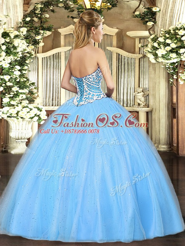 Lilac Tulle Lace Up Quince Ball Gowns Sleeveless Floor Length Beading