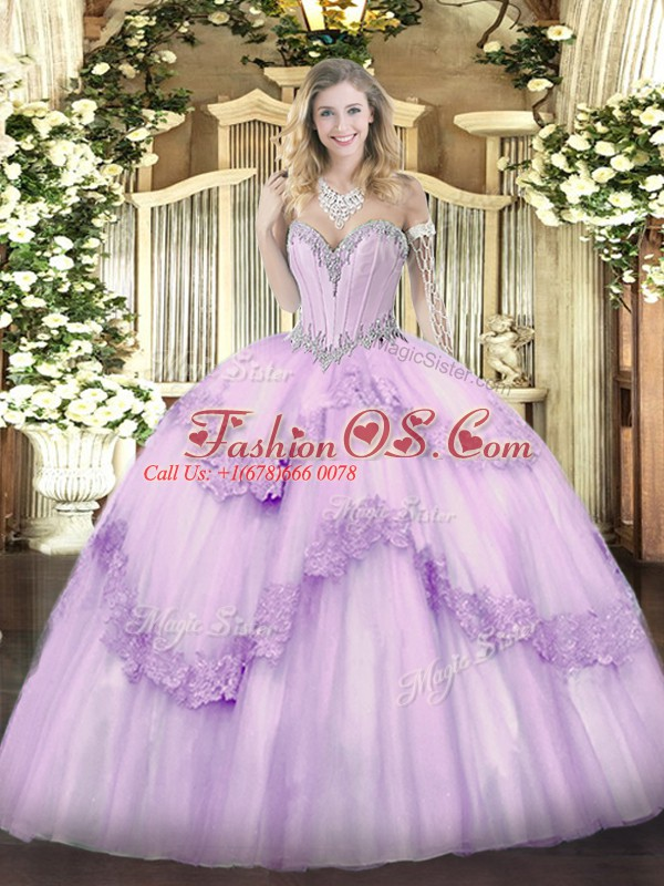 Sweetheart Sleeveless Lace Up Quinceanera Dress Lavender Tulle