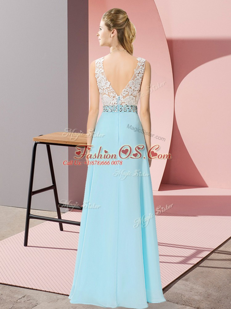 Glorious Lavender Empire Beading Prom Gown Backless Chiffon Sleeveless Floor Length