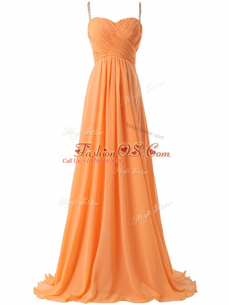 Fitting Orange Chiffon Criss Cross Prom Party Dress Sleeveless Sweep Train Ruching