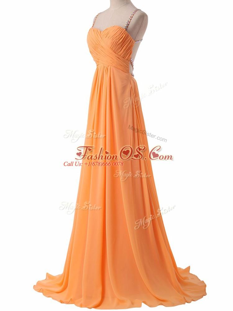 Fitting Orange Chiffon Criss Cross Prom Party Dress Sleeveless Sweep Train Ruching