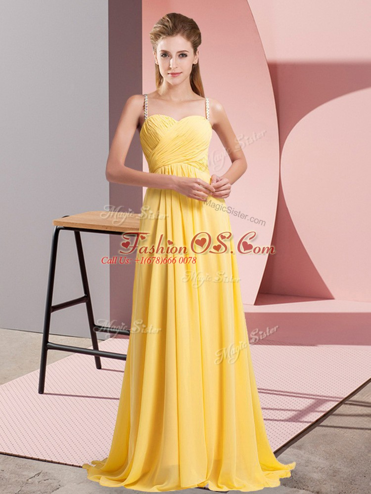 Delicate Gold Empire Chiffon Spaghetti Straps Sleeveless Ruching Floor Length Lace Up Prom Gown