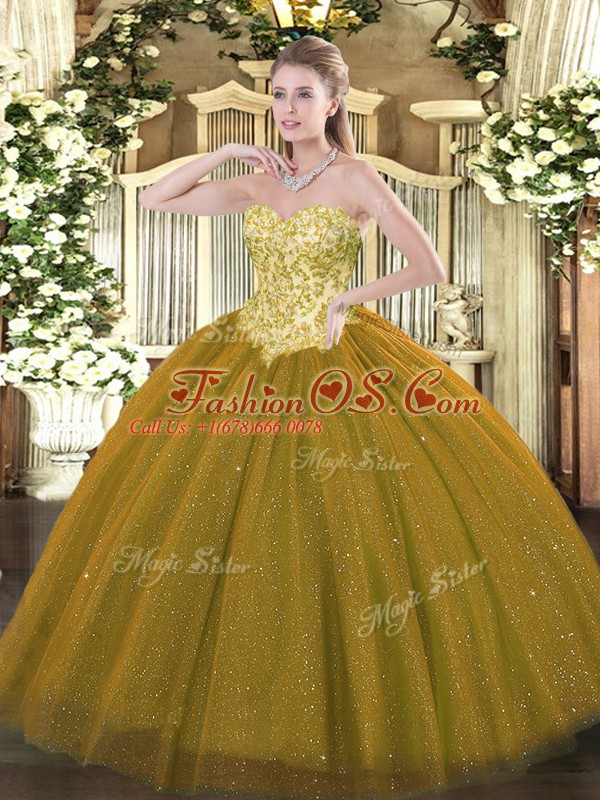 Stylish Sleeveless Floor Length Appliques Lace Up Quinceanera Gown with Brown