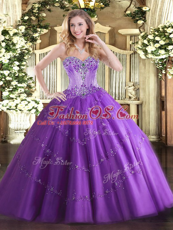 Pretty Floor Length Ball Gowns Sleeveless Purple Sweet 16 Quinceanera Dress Lace Up