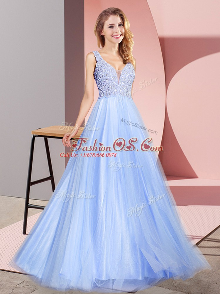 Super Sleeveless Zipper Floor Length Lace Prom Evening Gown