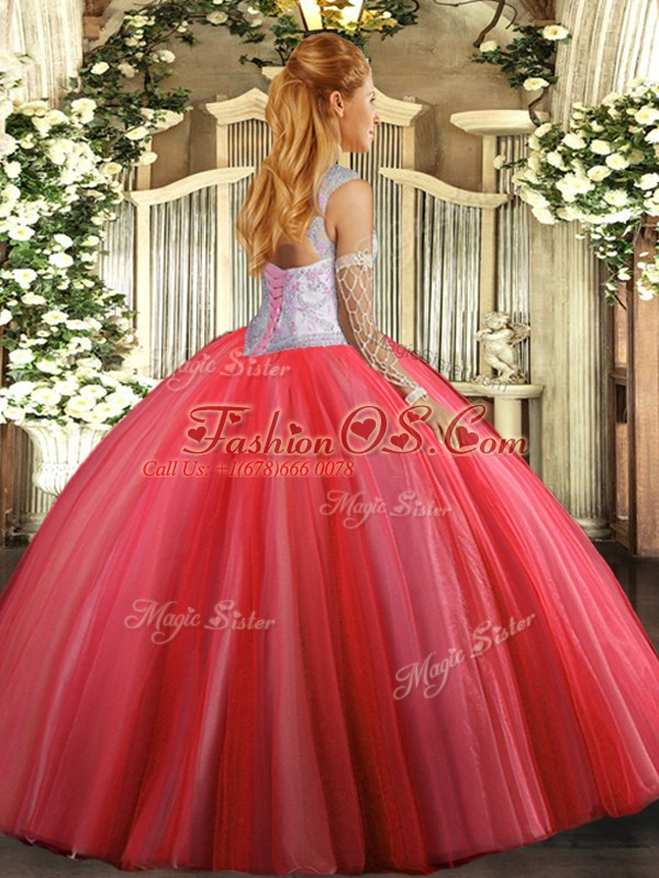Sleeveless Floor Length Beading Lace Up Sweet 16 Dress with Lavender