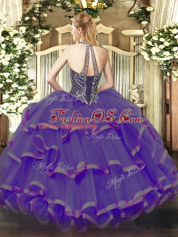 Eggplant Purple Lace Up Vestidos de Quinceanera Beading and Ruffles Sleeveless