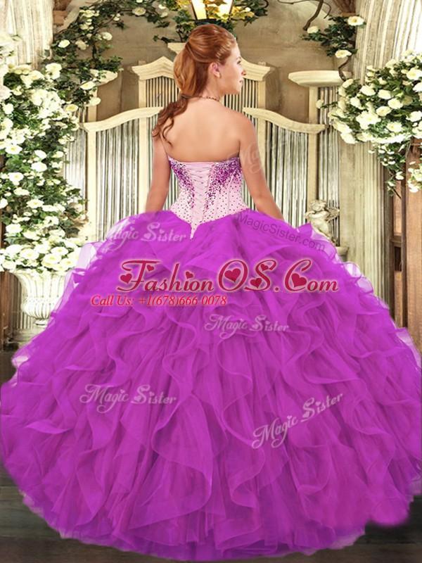 Spectacular Fuchsia Organza Lace Up Sweetheart Sleeveless Floor Length Sweet 16 Dresses Beading and Ruffles