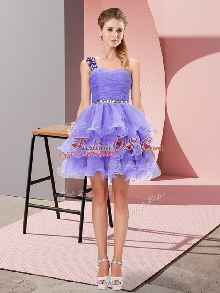 Luxurious Mini Length A-line Sleeveless Lavender Homecoming Dress Lace Up