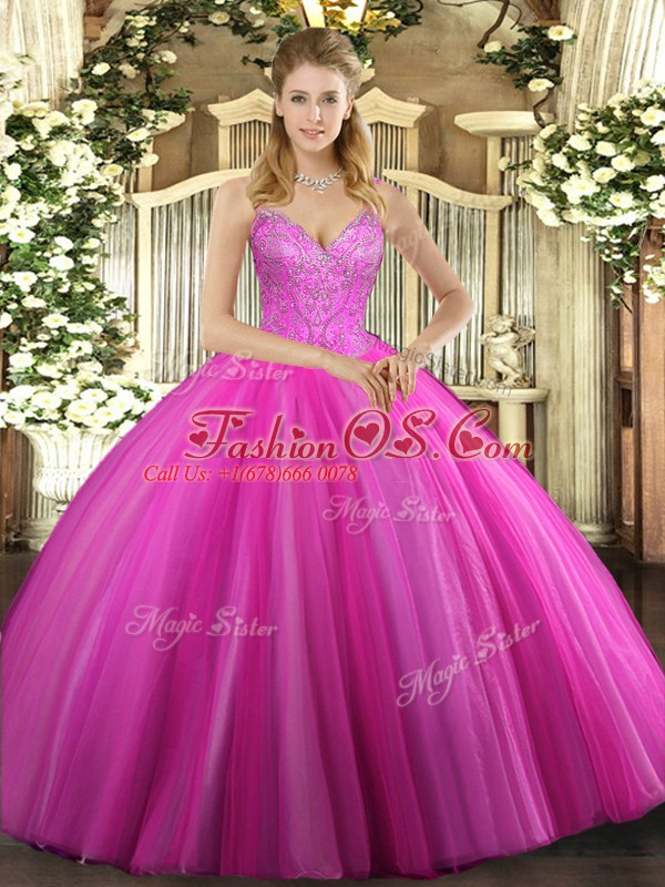 Stunning Floor Length Ball Gowns Sleeveless Fuchsia Sweet 16 Quinceanera Dress Lace Up