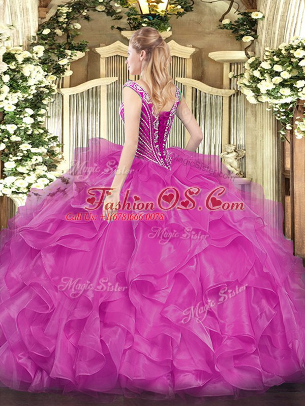 Sleeveless Floor Length Beading and Ruffles Lace Up 15 Quinceanera Dress with