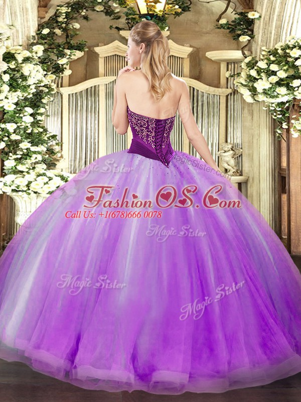 Affordable Gold Ball Gowns Beading and Ruffles Quince Ball Gowns Lace Up Tulle Sleeveless Floor Length
