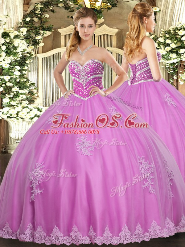 Modern Rose Pink Ball Gowns Tulle Sweetheart Sleeveless Beading and Appliques Floor Length Lace Up Quince Ball Gowns