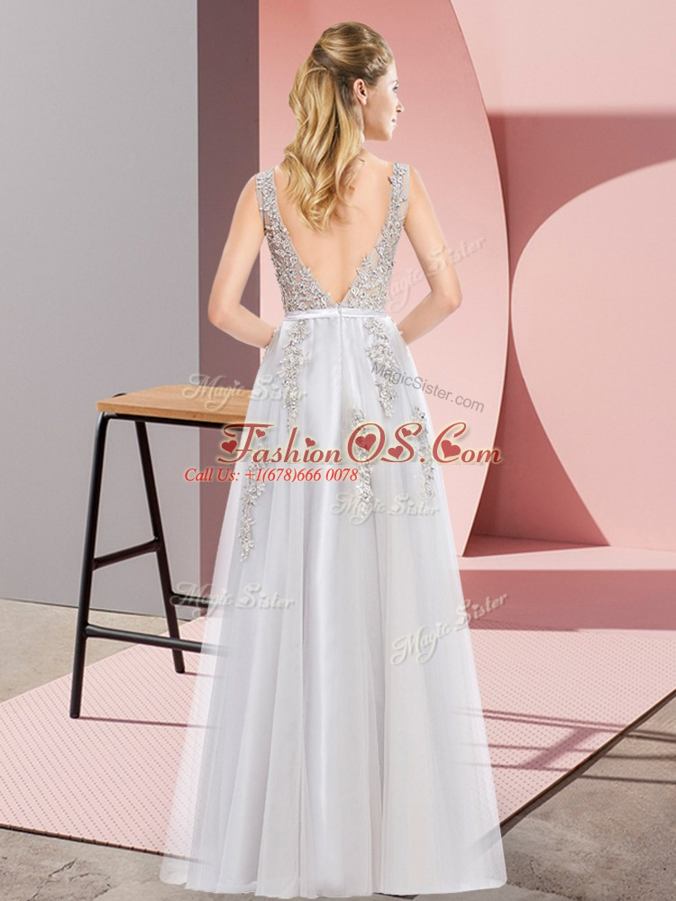 Grey Backless Square Lace and Appliques Prom Dresses Tulle Sleeveless