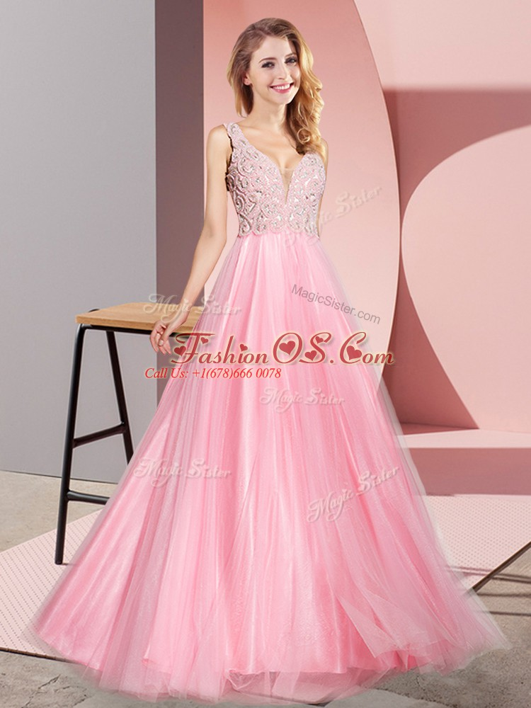 Fabulous Watermelon Red Zipper Evening Dress Lace Sleeveless Floor Length