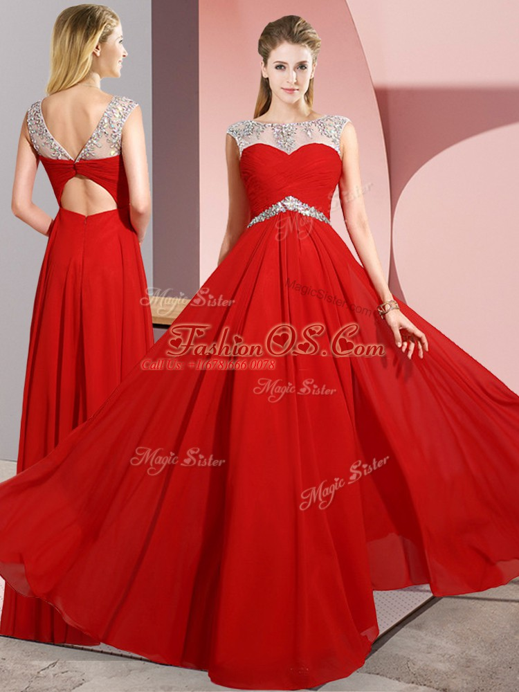 Custom Fit Scoop Sleeveless Clasp Handle Prom Party Dress Red Chiffon