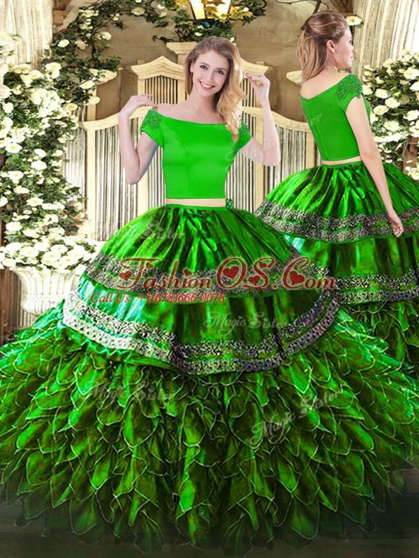 Floor Length Green 15 Quinceanera Dress Off The Shoulder Short Sleeves Zipper