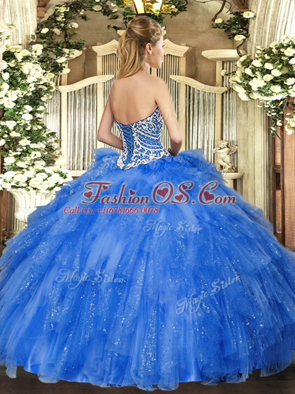 Sexy Sleeveless Floor Length Beading and Ruffles Side Zipper Quinceanera Dresses with Coral Red