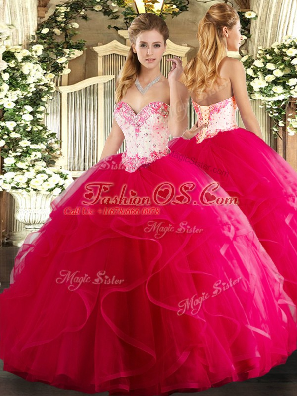 Floor Length Lace Up Sweet 16 Dress Hot Pink for Military Ball and Sweet 16 and Quinceanera with Beading and Ruffles