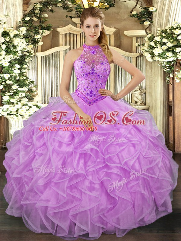 Extravagant Organza Halter Top Sleeveless Lace Up Beading and Ruffles Sweet 16 Quinceanera Dress in Lavender