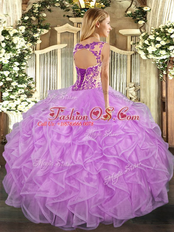 Modest Lilac Organza Lace Up Scoop Cap Sleeves Floor Length Quince Ball Gowns Beading and Appliques and Ruffles