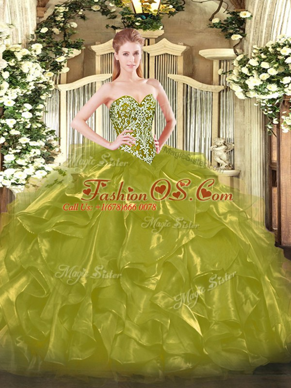 Sexy Olive Green Sweetheart Neckline Beading and Ruffles Ball Gown Prom Dress Sleeveless Lace Up