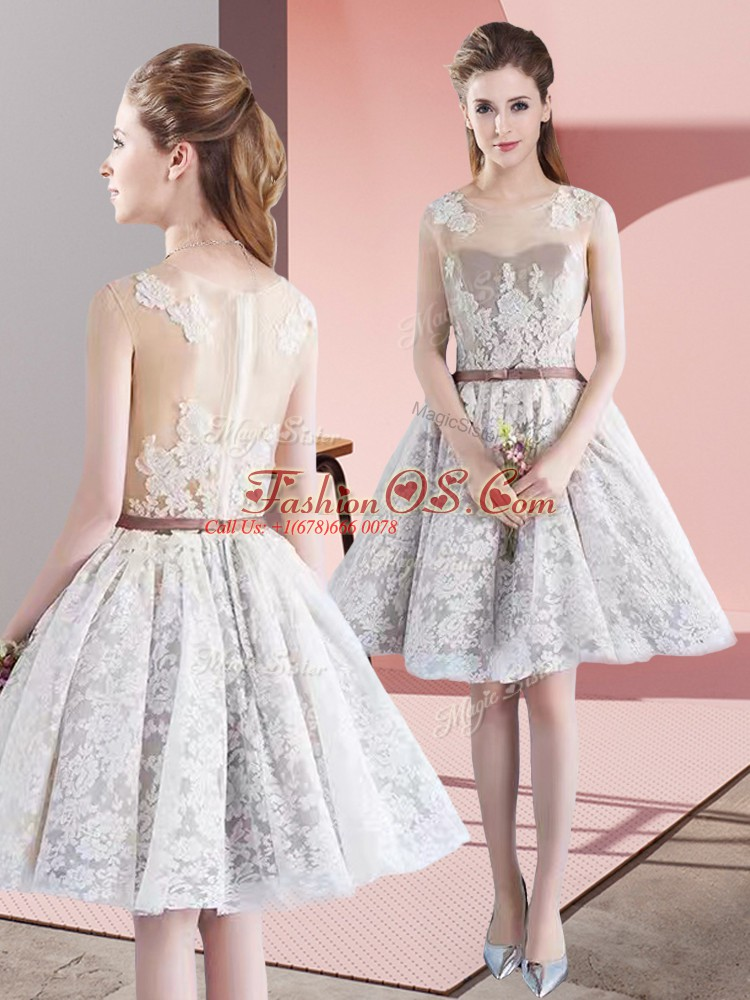 White Prom Dresses Prom and Party with Appliques and Belt Scoop Sleeveless Zipper