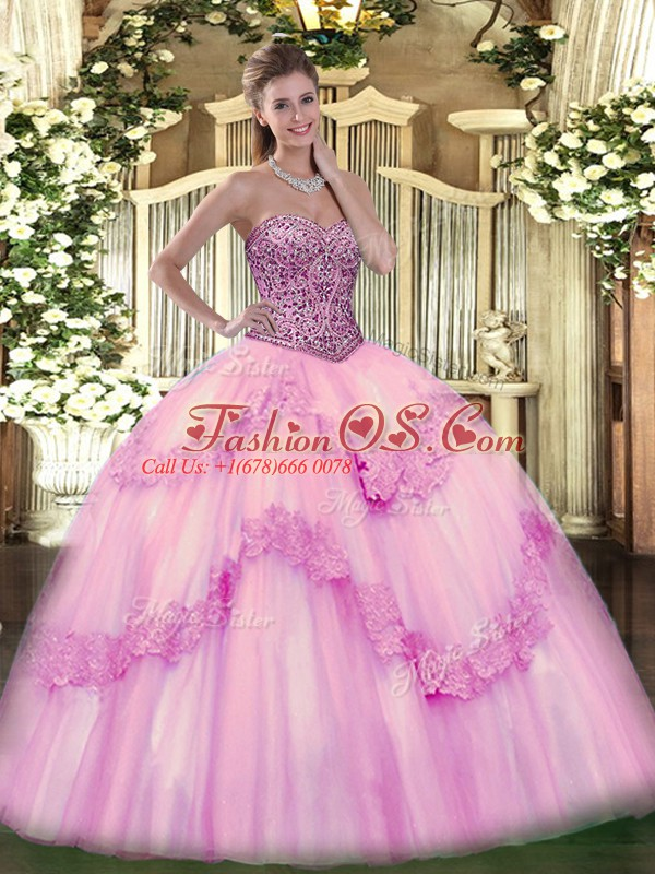 Glittering Pink Tulle Lace Up 15th Birthday Dress Sleeveless Floor Length Beading and Appliques and Ruffles