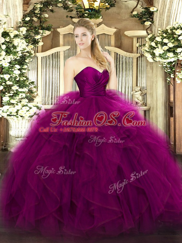 Glittering Fuchsia Sweetheart Zipper Ruffles Sweet 16 Dress Sleeveless
