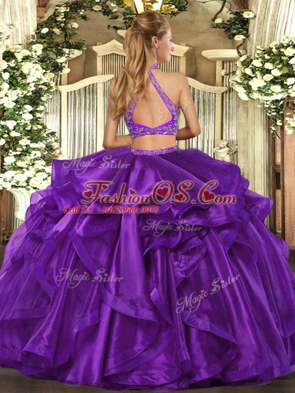 Purple Halter Top Neckline Beading and Ruffled Layers 15th Birthday Dress Sleeveless Criss Cross