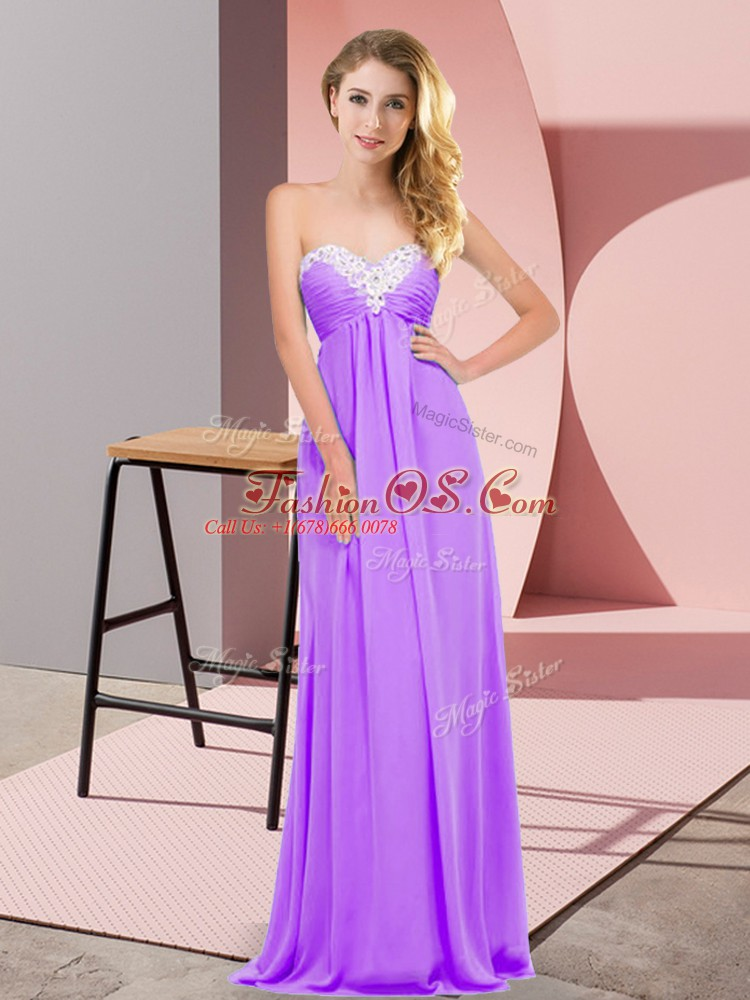 High Class Lavender Lace Up Sweetheart Ruching Prom Gown Chiffon Sleeveless