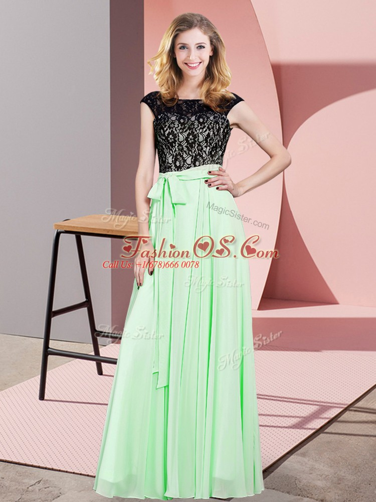 Hot Selling Apple Green Sleeveless Lace and Belt Floor Length Prom Party Dress
