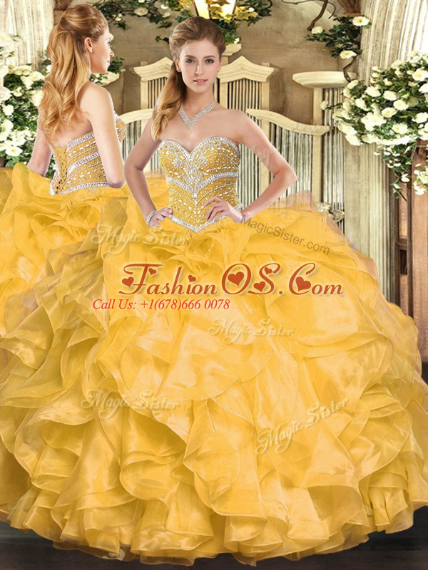 Ball Gowns Sweet 16 Dresses Gold Sweetheart Organza Sleeveless Floor Length Lace Up