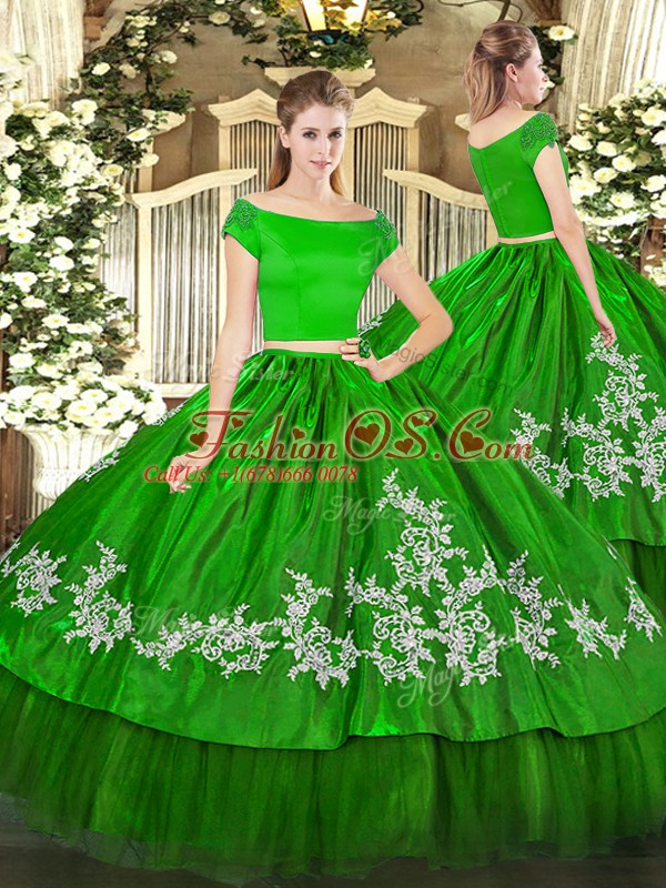 Organza and Taffeta Off The Shoulder Short Sleeves Zipper Embroidery Quinceanera Gowns in Green