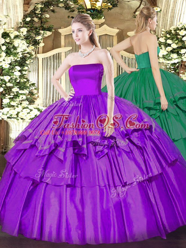 High End Floor Length Eggplant Purple 15 Quinceanera Dress Strapless Sleeveless Zipper