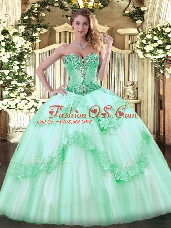 Customized Floor Length Apple Green 15 Quinceanera Dress Tulle Sleeveless Beading and Appliques