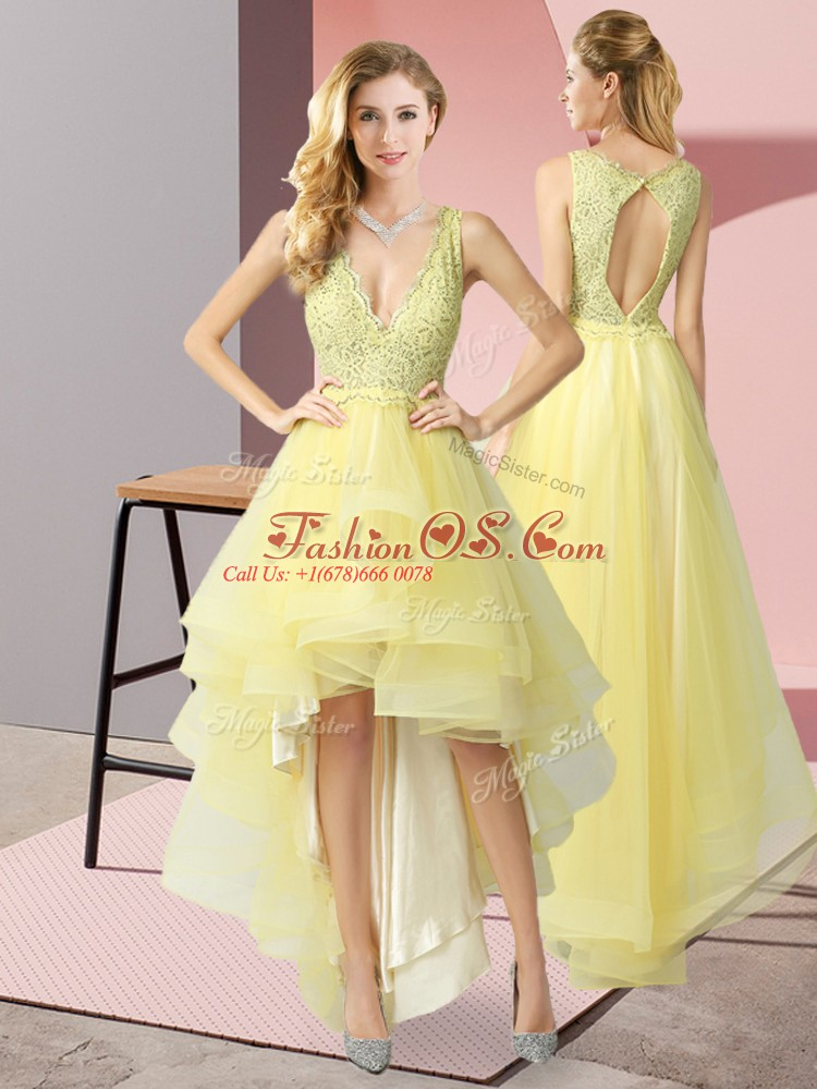 Fantastic High Low A-line Sleeveless Yellow Backless