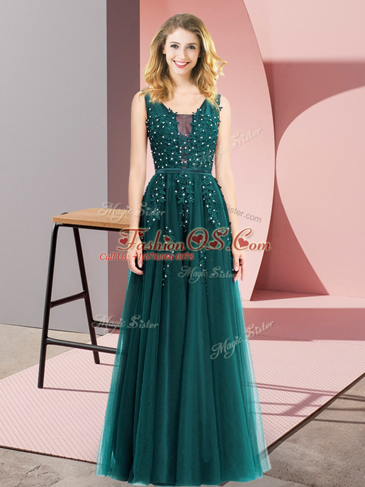 Sleeveless Tulle Floor Length Backless Prom Dresses in Turquoise with Beading and Appliques