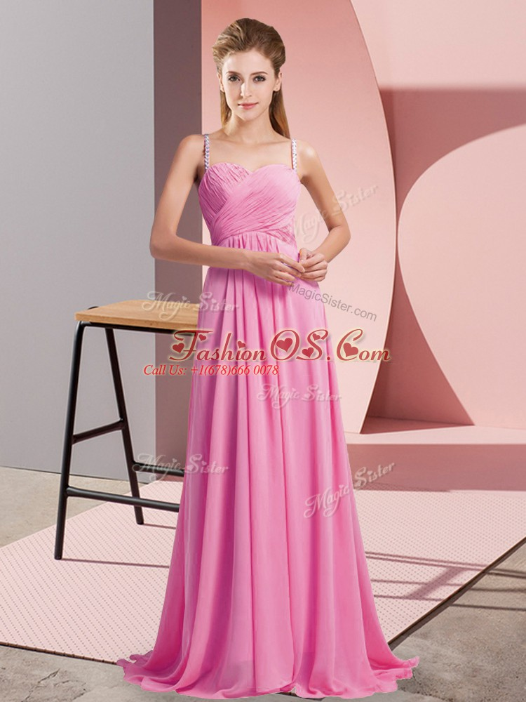 Traditional Rose Pink Prom Evening Gown Spaghetti Straps Sleeveless Sweep Train Backless