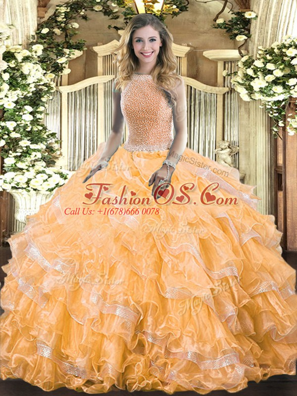 Luxury Orange Ball Gowns Organza High-neck Sleeveless Beading and Ruffled Layers Floor Length Lace Up Sweet 16 Dress