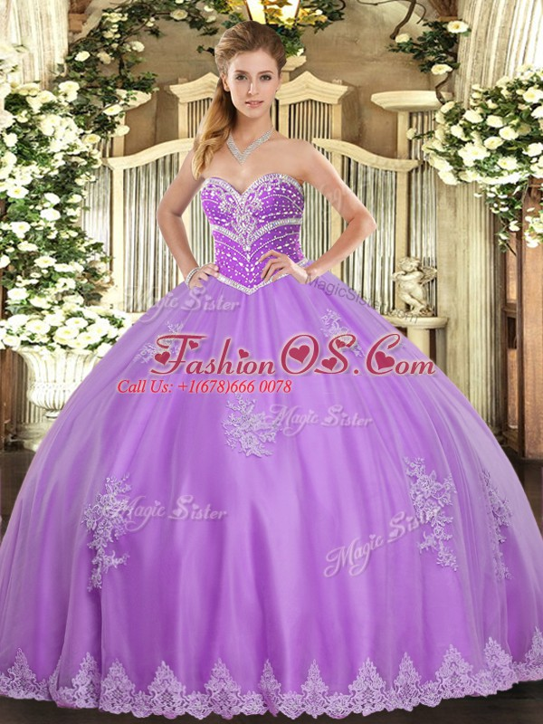 Traditional Lavender Tulle Lace Up Sweet 16 Dresses Sleeveless Floor Length Beading and Appliques