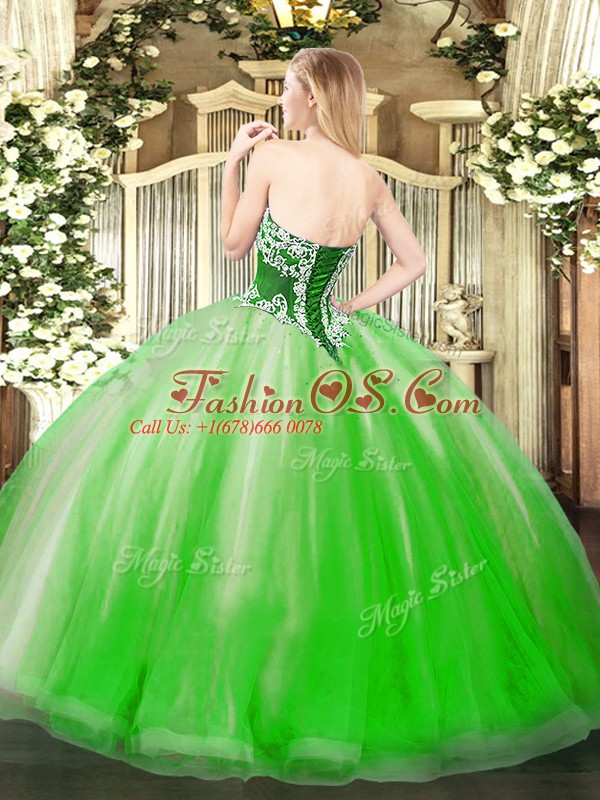 Artistic Sleeveless Tulle Floor Length Lace Up Quinceanera Dresses in Yellow Green with Beading and Ruffles